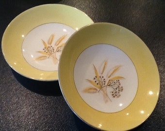 Vintage Homer Laughlin 2 Soup Bowls <> Autumn Gold <> Century Service <> Yellow Wheat Pattern <> Semi Vitreous <> 22 Kt. Gold <> 1950's
