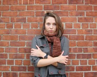 Merino wool scarf in cognac color