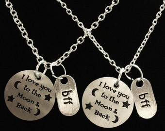2 Necklaces I Love You To The Moon & Back Bff Best Friends Couple's Sisters Set