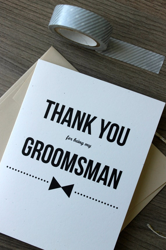 thank you groomsman card thank you for being my
