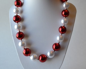 Red & White CHUNKY necklace with acrylic beads, tiger tail stringing, and metal toggle clasp