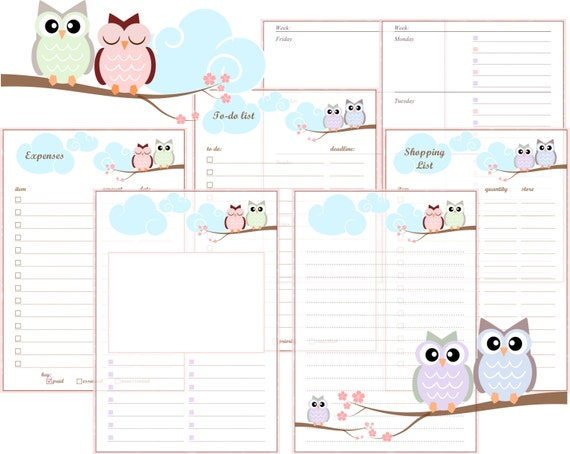 A5 Filofax Printable Inserts - Pastel Owls- includes Week on two pages ...