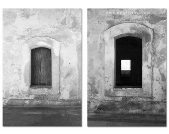 Black and white photography diptych pair, windows old building, rustic textures, historic, simple. Relaxing art, print set.