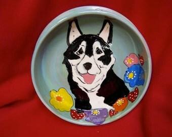 Hand Painted Ceramic Pet Bowl - Husky