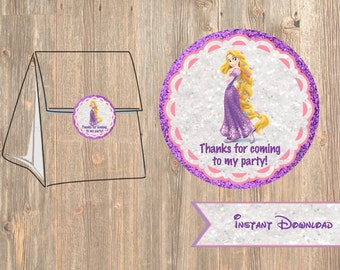 Rapunzel Favor Tag or Labels, Disney Tangled Birthday Party Favor, Printable Treat Bag Label Thank You Sticker Disney's,  2 inch Tags