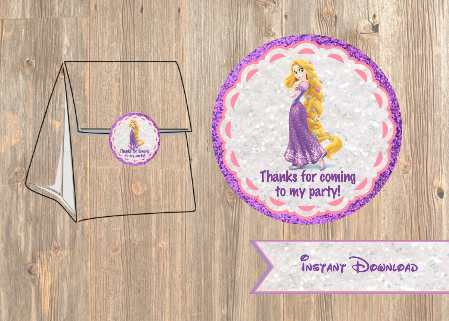 Birthday Tags: Rapunzel Favor Tag Or Labels Disney Tangled Birthday Party
