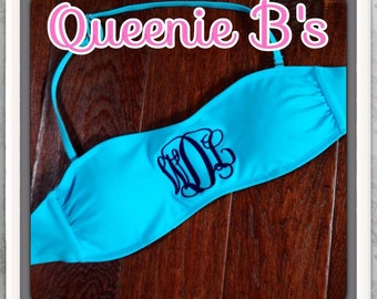 Aqua Monogram Bandeau Swimsuit Top - 12 Colors To Choose From!