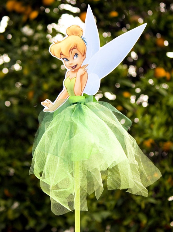 Tinkerbell Wood Centerpiece With Tutu For Birthday Party