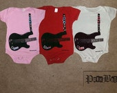 Trompe l'oeil rock guitar hand screen printed, pink, red, or white, cotton onesie for rockstar babies