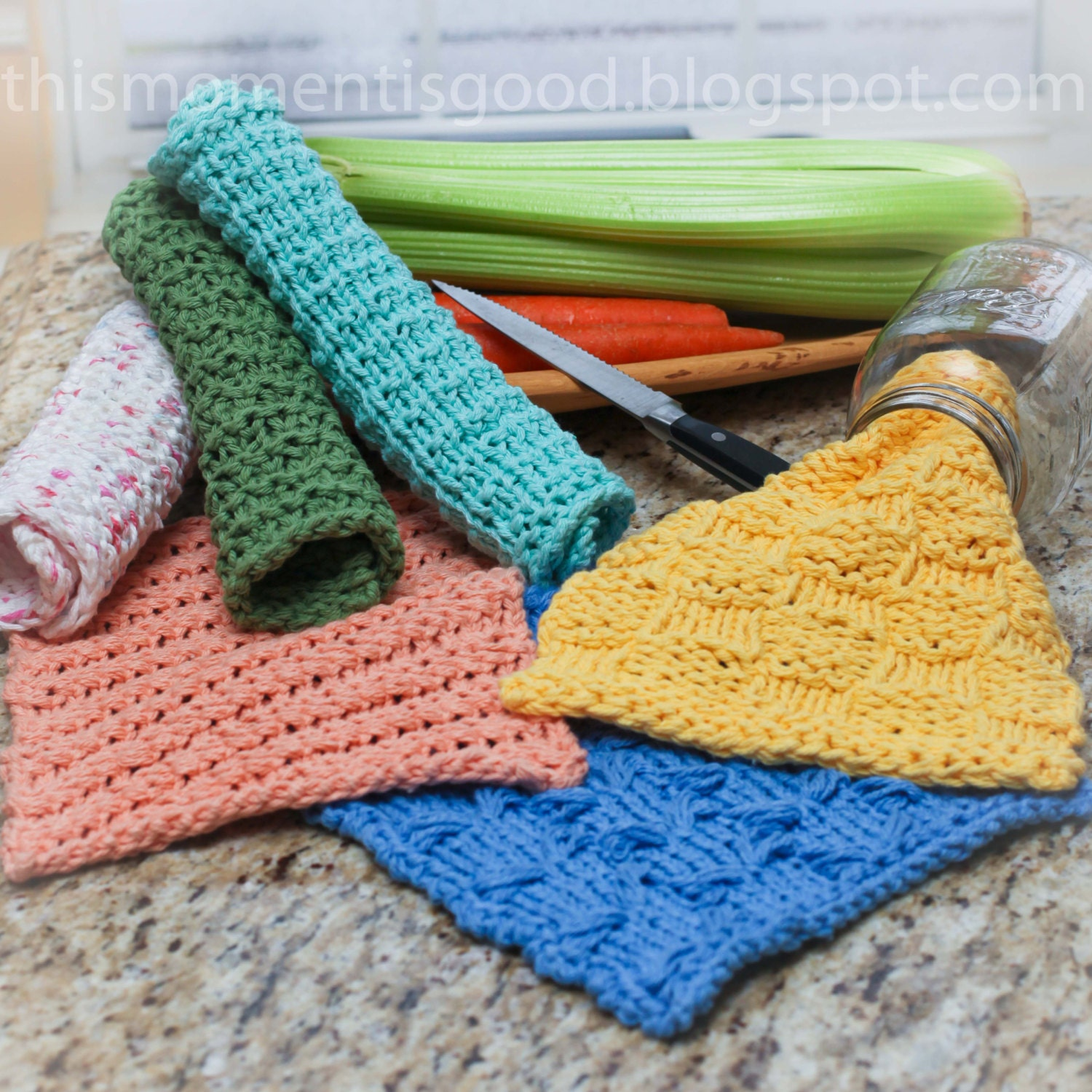 Loom Knit Wash Cloth Patterns. 7 unique by ThisMomentisGood