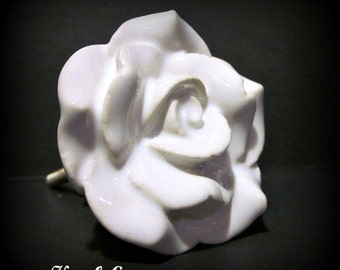 SET of 6 White Ceramic Rose Knob~ Large ~Dresser~Cabinets~Vanity ~More or less available