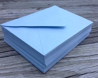 50 Baby Blue A7 5x7 Invitation or A1 (4Bar) RSVP Pointed Flap Envelopes - Light Baby Blue Bluebell Paper Source Envelope