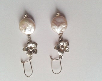 Gorgeous natural white coin pearl earrings with sterling silver flower  connectors