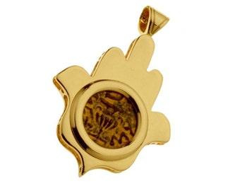 14k Gold Masada Coin Hamsa Pendant