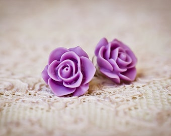 Resin Rose Stud Earrings (The Marilyn Earrings)