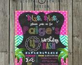 Chalkboard Invitation Pool swim water  Birthday party, 5x7 Fully customizable birthday invitation