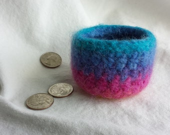 Rainbow Pink, Blue, Turquoise, Felted Bowl