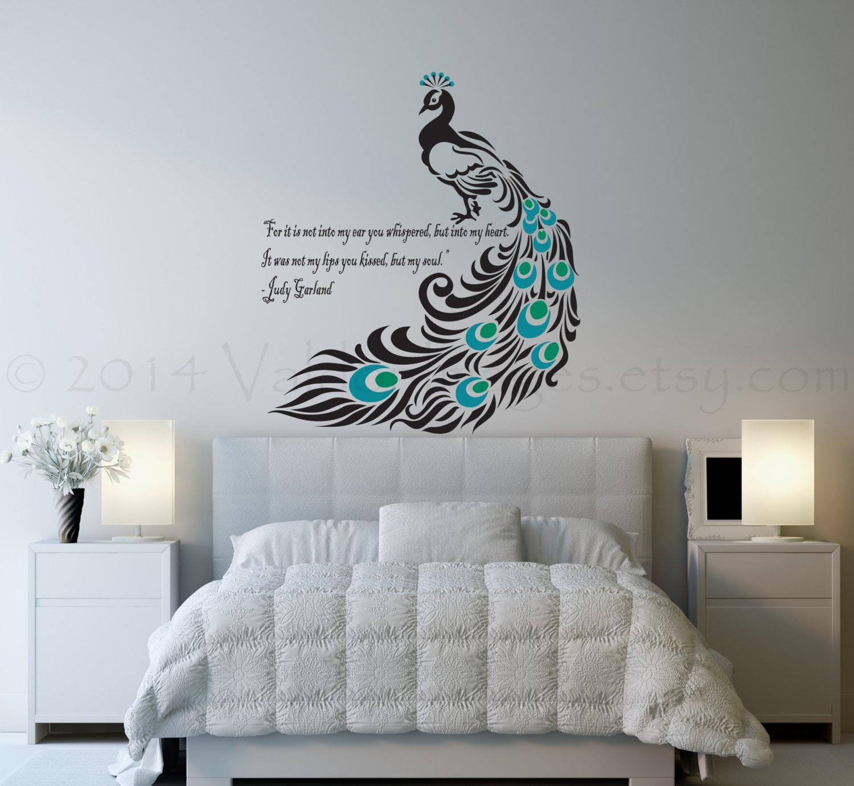 Peacock Wall Decal Bird Wall Decal Bedroom Wall Decal