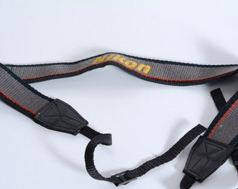 Embroidered Nikon Fabric and Leather Camera Strap With Metal Buckles