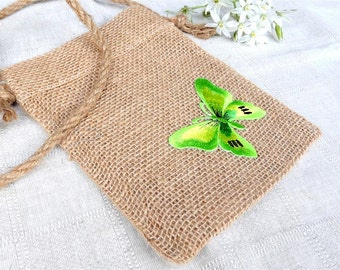Natural Jute Shoulder Bag With green butterfly, Tote Bag, Small Bag, Eco Friendly Bag, Gift, Butterfly