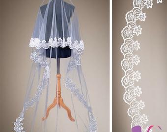 Floor/Chapel length Stunning Bridal Veil- with a 10cm width gorgeous lace edge