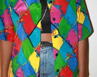 color block silk blouse