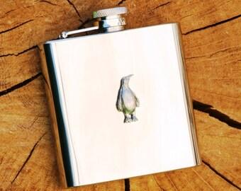Penguin Hip Flask Antarctic Gift FREE ENGRAVING