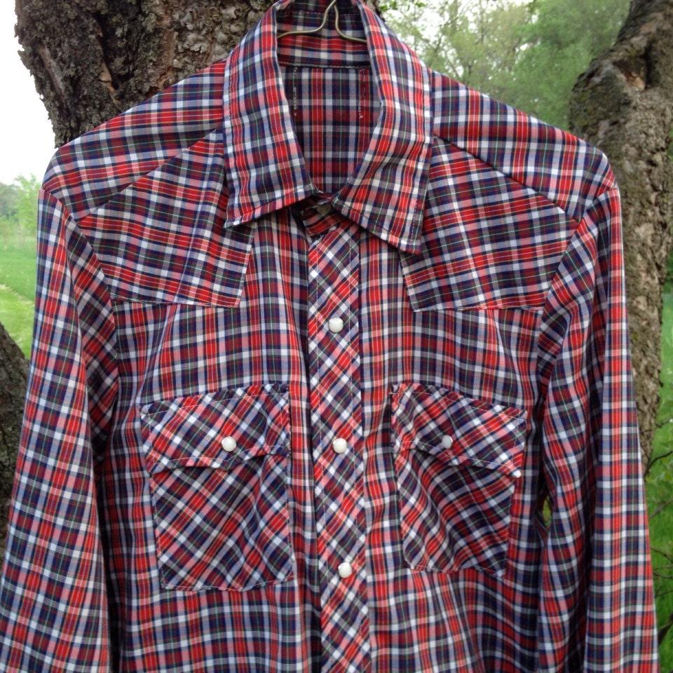 Western shirt plaid red white blue classic men 39 s small for Red white and blue plaid shirt
