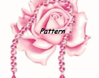 Pink rose. Cross Stitch Pattern. PDF Files.