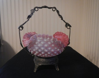 Antique Pink Opalescent Hobnail Glass Brides Basket