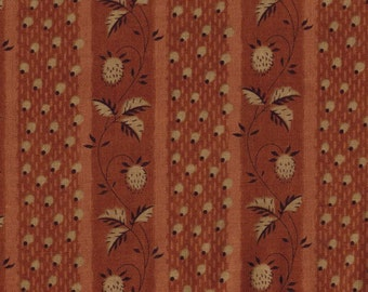 BY THE YARD Brown and Tan Floral Stripe Roller Print Fabric Reproduction Historical Quilting Cotton Doll Clothes 19th Century ca. 1840s