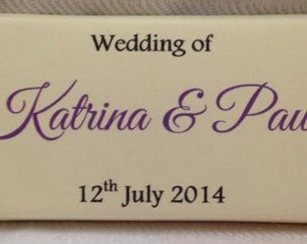50 x Personalised 18g Cadburys Chocolate Bars, Wedding Favours, Handmade