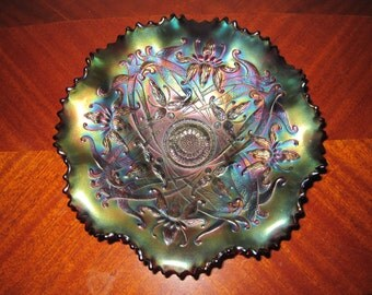 Enter Coupon Code DISCOUNT20 for 20% Off - Northwood Amethyst Carnival Glass Bowl in the Wishbone Pattern