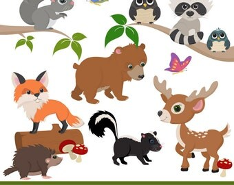 Premium Woodland Animal Clip Art, Woodland Animal Vectors - Woodland Vectors, Woodland Clipart, Forest Animals, Forest Animal Clipart