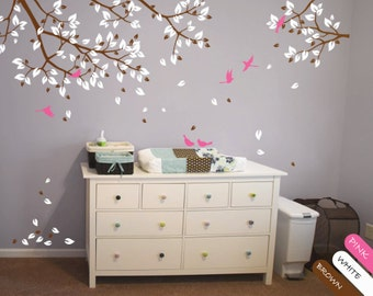 Nursery branch wall decal with birds, leaves and flying birds - Children's room decoration - Nursery Branch Decal - 048