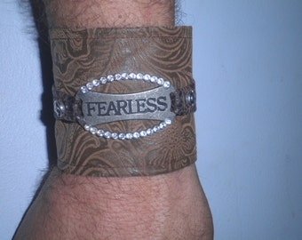 Fearless Cuff, Fearless Bracelet, Brown Faux Leather Cuff Bracelet, Fearless Jewelry, Statement Bracelet, Biker Cuff, Rocker Bracelet
