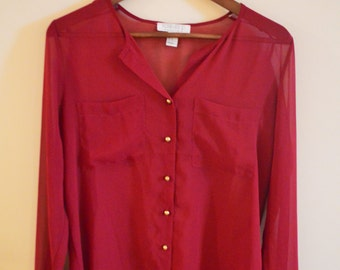 Raspberry Sheer Long Sleeve Shirt ~ M, Fast Delivery, Vintage, Stylish Clothes,  Womens Blouse