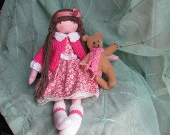 Fabric Doll with teddy bear