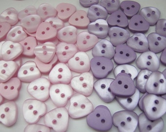 "10 Small Hearts Buttons 11mm (1/2""inch) Baby Pink or Purple Baby Clothing Sewing Buttons Clothing Accessories"