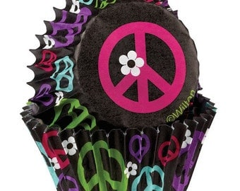 Peace Cupcake Liners - Wilton Standard Baking Cups Muffin Cups Baking Supplies Cupcake Supplies - Peace Sign Cupcake Liners