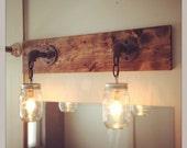 Rustic/Industrial/Modern Wood Handmade Mason Jar Vanity Light Fixture/Pipe/Vanity Light/Rustic lighting