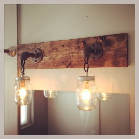 Rustic Industrial Modern Mason Jar Lights Vanity Light
