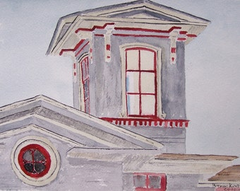 watercolor painting,widows watch tower,stucco house PAINTING,scenic house, scenic, landscaoe,old house, historic, round windows, grey house,