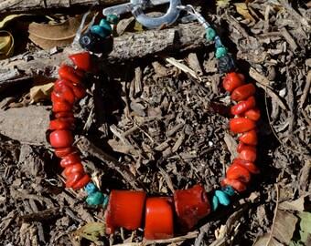 Mens Red Coral Bracelet, mens coral bracelet, coral and turquoise bracelet, coral bracelet, chunky coral bracelet, chunky red coral bracelet
