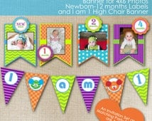 Monster Bash Party 1st First Birthday Personalized Printable Banner, Newborn - 12 Month Labels, and I am 1 High Chair Banner