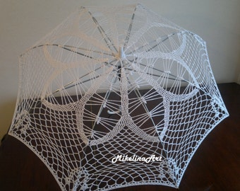 Crochet Handmade Umbrella, Summer Wedding, White, 100% Cotton
