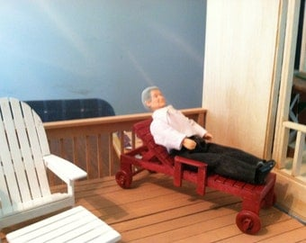 """Doll House Lawn Chair Lounge, Handmade to Scale.1""""=1' scale, FREE SHIPPING"""