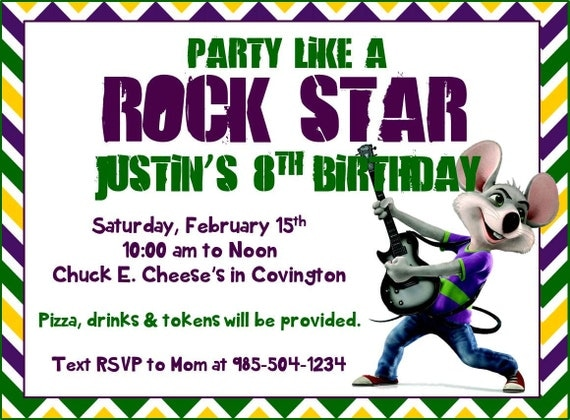 printable chuck e cheese party invitation multiple versions