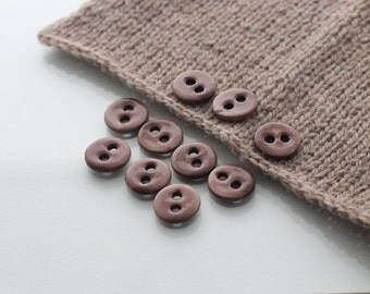 """10 Small Beaver Brown Ceramic Buttons (18 mm / 0.7"""")"""