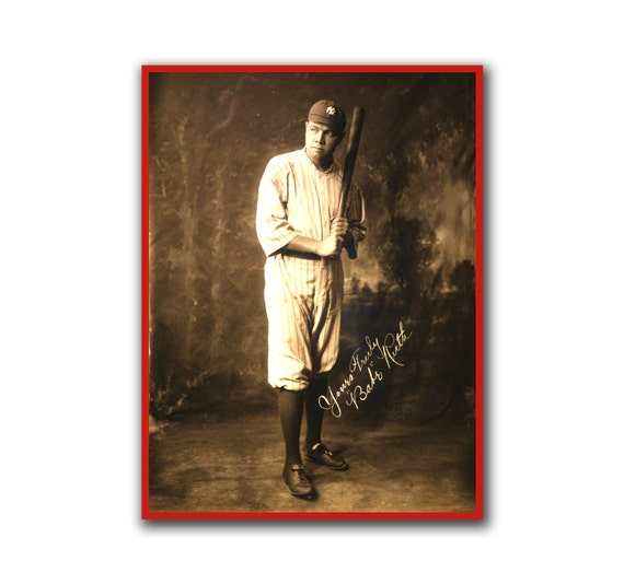 Vintage Baseball Wall Decor : Babe ruth retro baseball art wall poster print sports